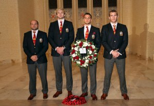 A British & Irish Lions delegation visiting the Australian War Memorial yesterday,  from left, Rory Best from Ireland, Scotland's Richie Gray, Lions Captain Sam Warburton from Wales and England's Tom Croft.
